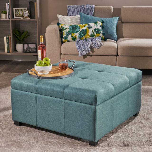 carlyle contemporary tufted upholstered fabric storage ottoman coffee table