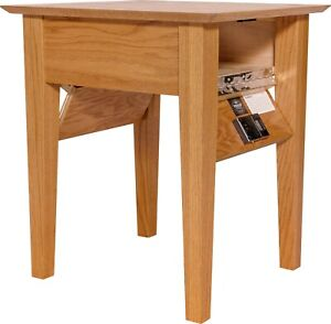 details about hidden compartment end table diversion safe rfid lock autumn stain on oak t1
