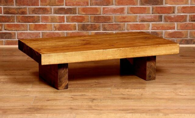 extra chunky thick rustic coffee table handmade solid wood low repurposed