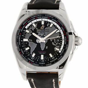Breitling Galactic Unitime Mens Steel Automatic Strap Watch WB3510U4/BD94