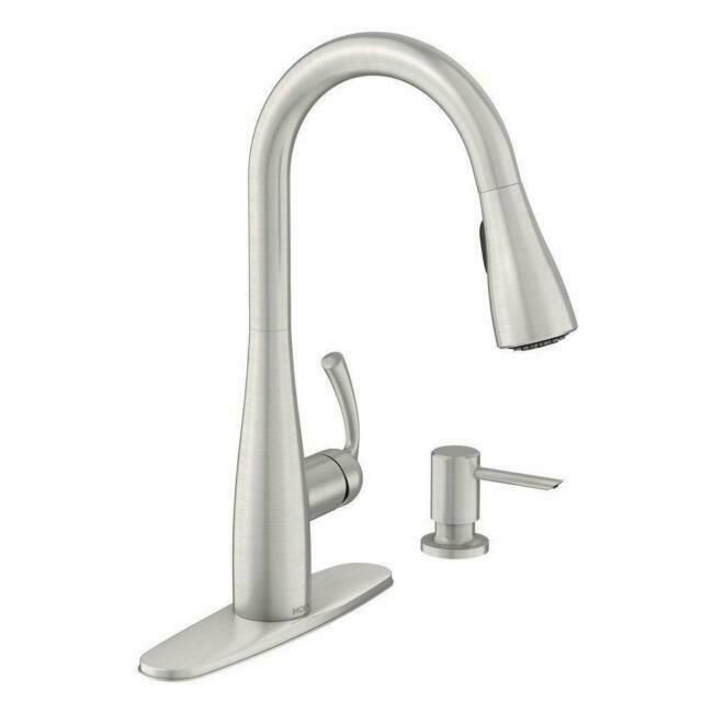 moen 87014srs essie one handle high arc pulldown kitchen faucet spot resist stainless