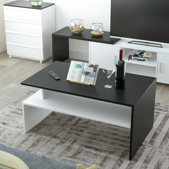 modern rectangle coffee table living room furniture w lower shelf lounge tables