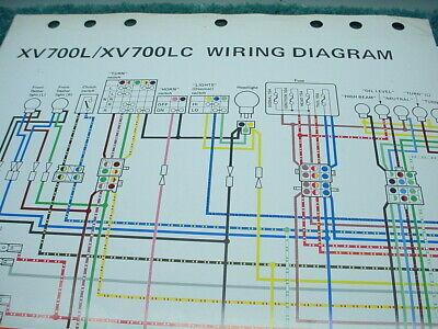 yamaha virago xv700l xv700lc 1984 oem color wiring diagram fold out  ebay