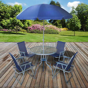 details about 6pc garden patio furniture set outdoor navy 4 seats round table chairs parasol
