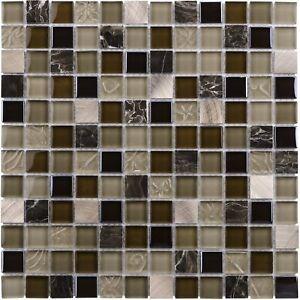 details about modern squares black brown beige glass stone mosaic tile backsplash mto0210
