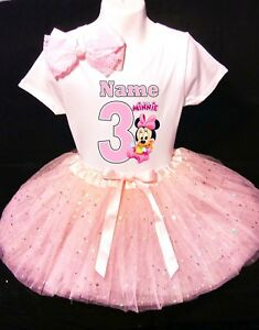 Minnie Mouse With Name 3rd Third 3 Baby Pink Tutu Dress Fast Shipping Ebay