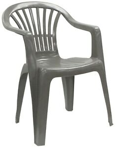 details about set of 4 grey garden chairs stackable plastic outdoor patio chairs with arms