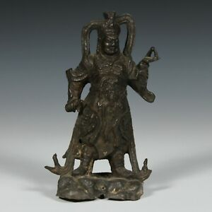 Antique Chinese Bronze Figure of a Heavenly King Ming Dynasty