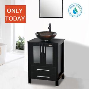 details about black bathroom vanity 24 inch mirror single top wood vessel glass sink w faucet