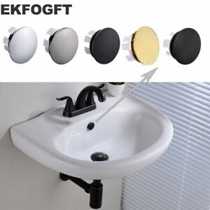 details about ekfogft brass sink overflow cap round hole cover for basin chrome bn orb finish