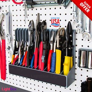 details about 15 pliars organizer tool rack wall mount cabinet pegboard workbench peg holder