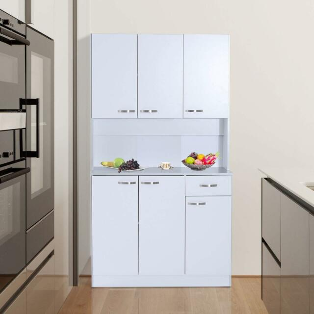 Tall 71 Kitchen Pantry Hutch Storage Microwave Cabinet Server Wood White Gray For Sale Online