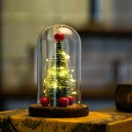 Tabletop Artificial Mini Christmas Tree In Glass With Led Lights Ornaments Decor For Sale Online