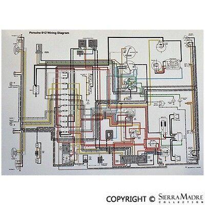 full color wiring diagram porsche 912 3 gauge 6567  ebay
