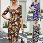 Women Summer Boho Floral Casual Bodycon Dress Ladies Evening Party