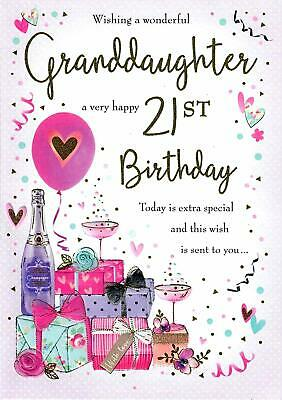 Wishing A Wonderful Granddaughter A Very Happy 21st Large Birthday Card 5053349115688 Ebay