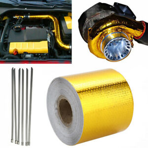 details about heat shield wrap tape auto exhaust pipe adhesive reflective aluminum foil gold