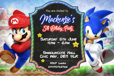 personalised sonic the hedgehog and super mario party invites inc envelopes sm1 ebay