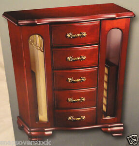 CHERRY FINISH WOODEN JEWELRY BOX 5 DRAWERS 2 DOORS