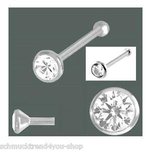 Nasenstecker 925 Silber Kugel 2,5 mm Zirkonia Damen Nasenpiercing Nasenring NEU