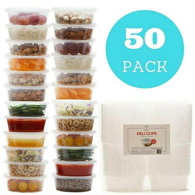 8 oz Plastic Food Storage Containers with Lids - Restaurant Deli Cups (50 pack) 2