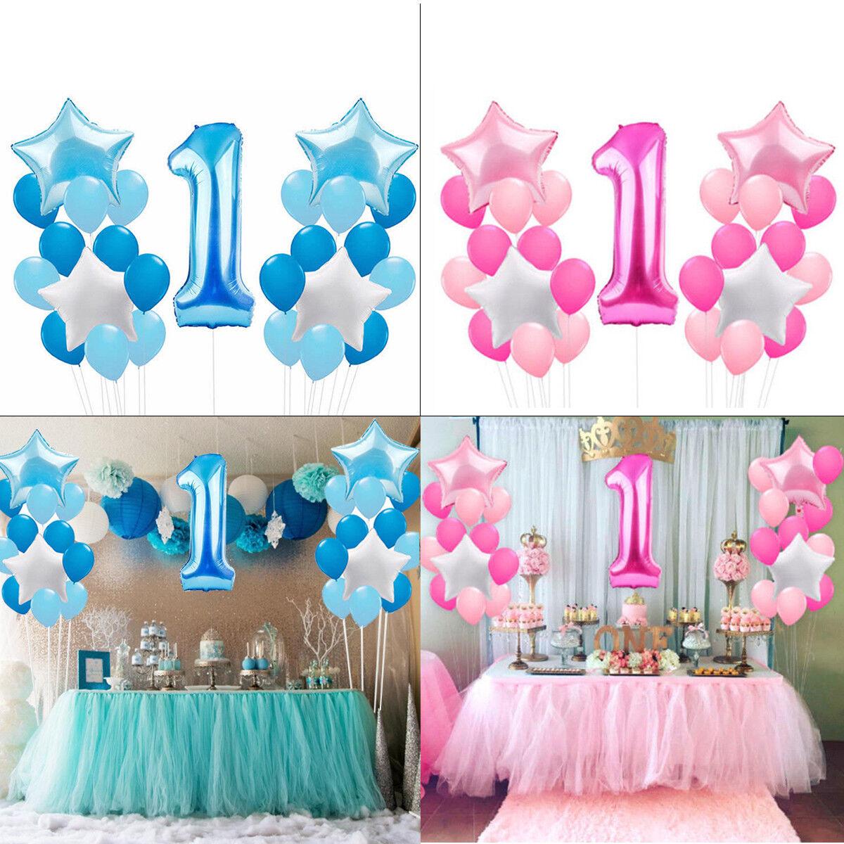 25pcs Foil Latex Balloons Set 1st Birthday Party Decorations Boy Girl Pink Blue Ebay