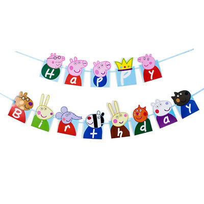 5 Meter Peppa Pig Happy Birthday Banner Bunting Party Decoration Flags Kids Ebay