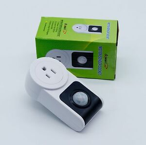 Motion Sensor Activated Power Socket Electrical Outlet Image is loading Motion Sensor Activated Power Socket Electrical Outlet