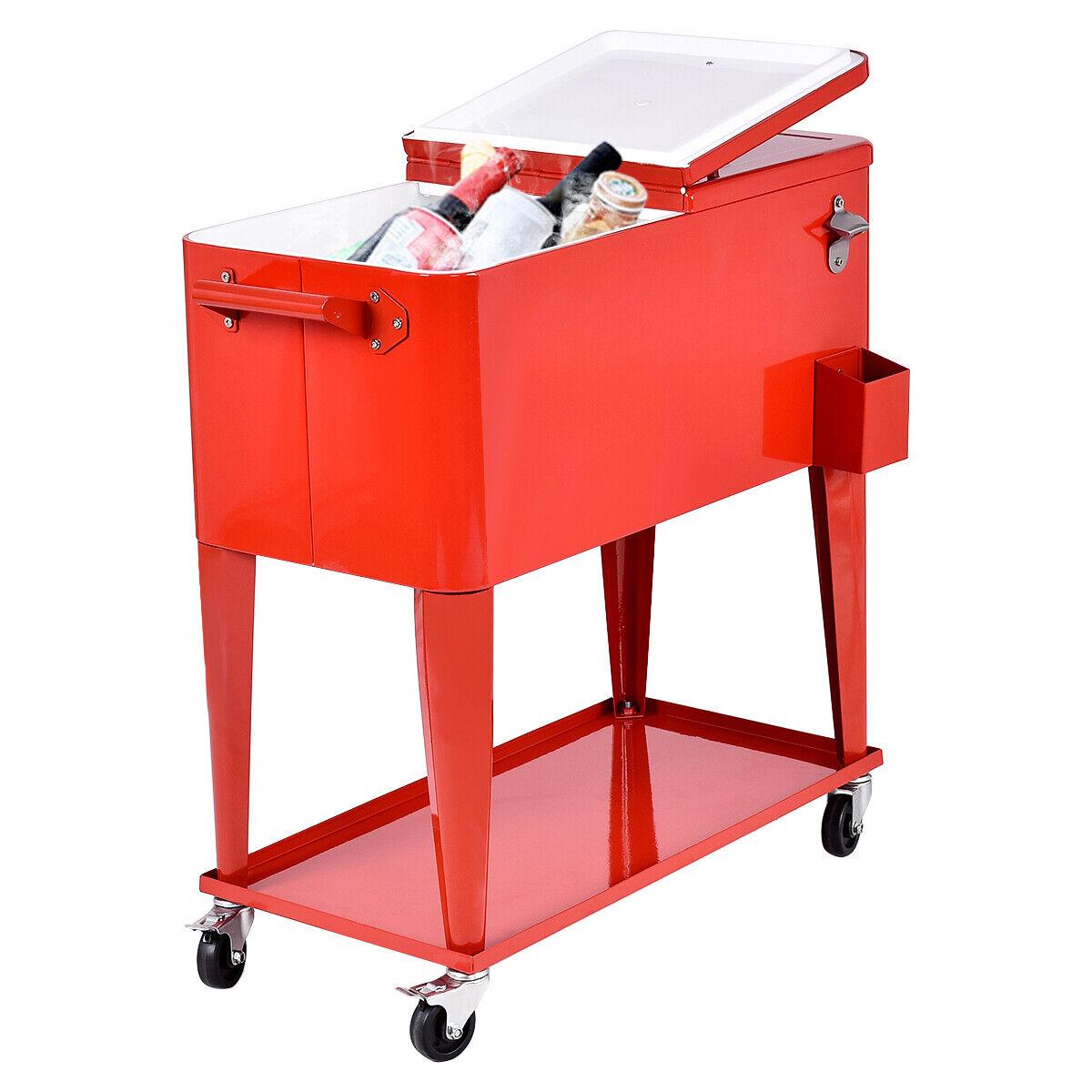 80quart outdoor cooler cart rolling steel party beer bar bistro ice bucket patio