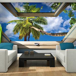 VLIES Tapete Fototapeten Tapeten Fenster Blick 3D Strand Palme