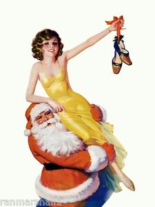 1940s Pin Up Girl Santa Claus Merry Christmas 2 Picture