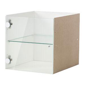 Details About Ikea Storage Display Kallax Shelf Rack Insert With Glass Door 33x33cm White New