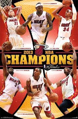 miami heat nba champions lebron james dwayne wade chris bosch 22x34 poster ebay