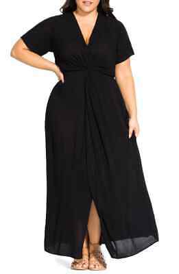 CITY CHIC S 16 NWT RRP $99.95 MAXI KNOT FRONT BLACK SUMMER