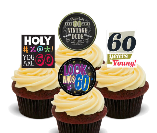 60th Birthday Male Funny Edible Cupcake Toppers Standup Fairy Cake Decorations For Sale Online Ebay