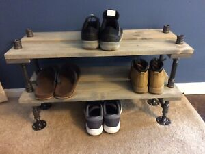 details about 12 depth industrial pipe and wood shoe rack entryway shoe storage