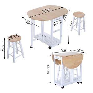 details sur petite cuisine salle a manger ensemble table et chaise pliante island 2 tabourets chariot roues afficher le titre d origine