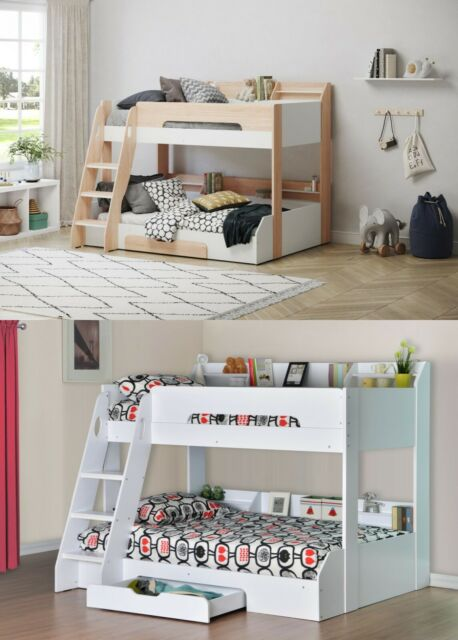 flick wooden triple bunk bed frame childrens shelving storage various colours