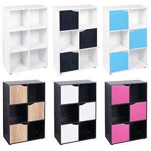 6 Cube Bibliotheque Bois Etagere Affichage Etageres Meuble De Rangement Bois Etagere Porte Neuf Ebay