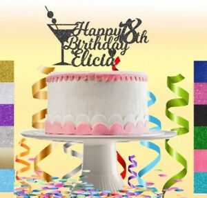Custom Personalised Birthday Glitter Cake Topper Any Name Age 16 18 18th 21 30 Ebay