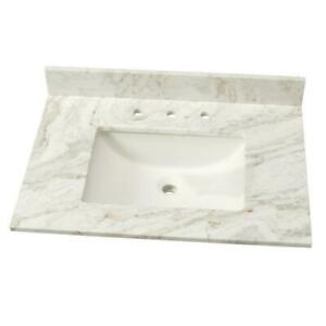 details about 31 in marble single sink vanity top in arabescato venato with white sink
