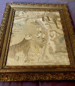 ANTIQUE CHINESE EMBROIDERED SILK FRAMED EMBROIDERY QING DYNASTY