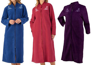 Robe De Chambre Femme Floral Fermeture Eclair Peignoir Slenderella Bouclette Polaire House Coat Ebay