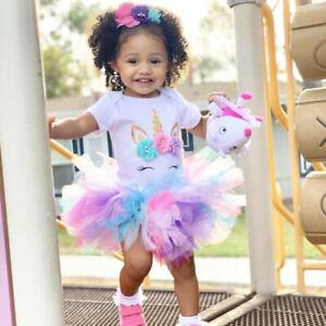 Baby Girl 1st Birthday Dress Outfits Sets Unicorn Party Rainbow Tutu Clothes Ebay