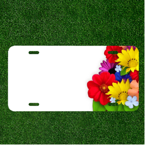 Custom Personalized License Plate Auto Tag With Colorful Flowers