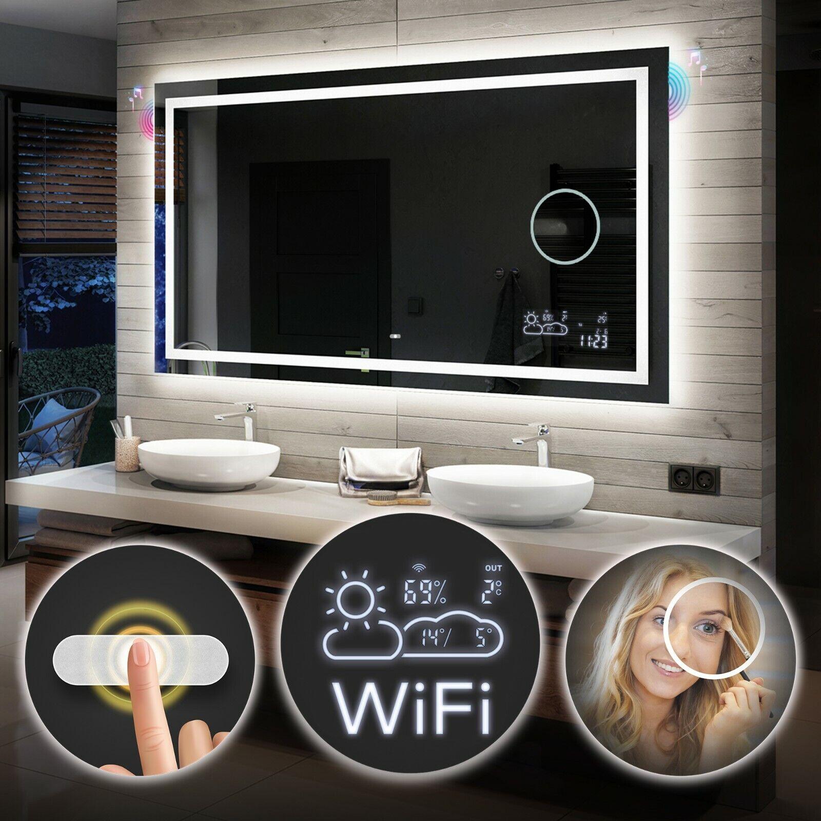 Badspiegel Mit Led Beleuchtung Wetterstation Wifi Touch Lautsprecher L15 Ebay