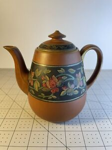 Antique? Tall Yixing Zisha Clay Teapot With Hand Painted Floral Vine Theme