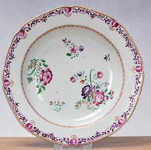 Antique 1780 Qianlong Famille Rose Chine de Commande Export Plate Flowers Qing