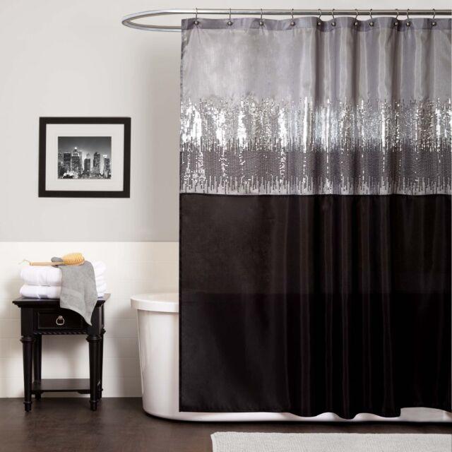 lush decor night sky black grey shower curtain grey