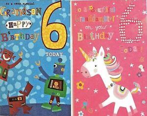 Happy 6th Birthday Card Grandson Granddaughter 6 Today Ebay